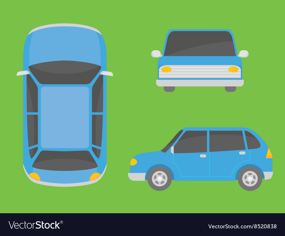 Car view from all side front top vector