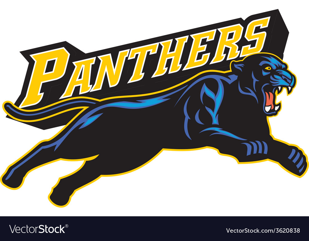 Jumping black panther vector