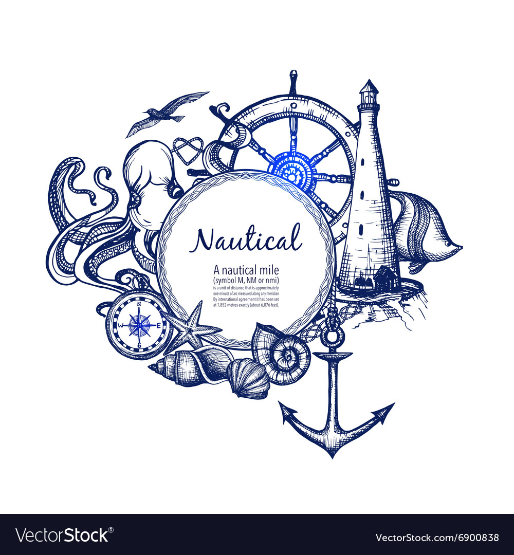 Nautical marine composition icon doodle vector