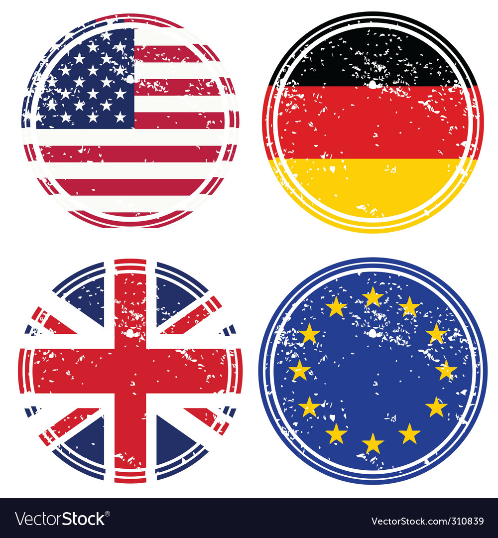 Rubber stamps with flags vector