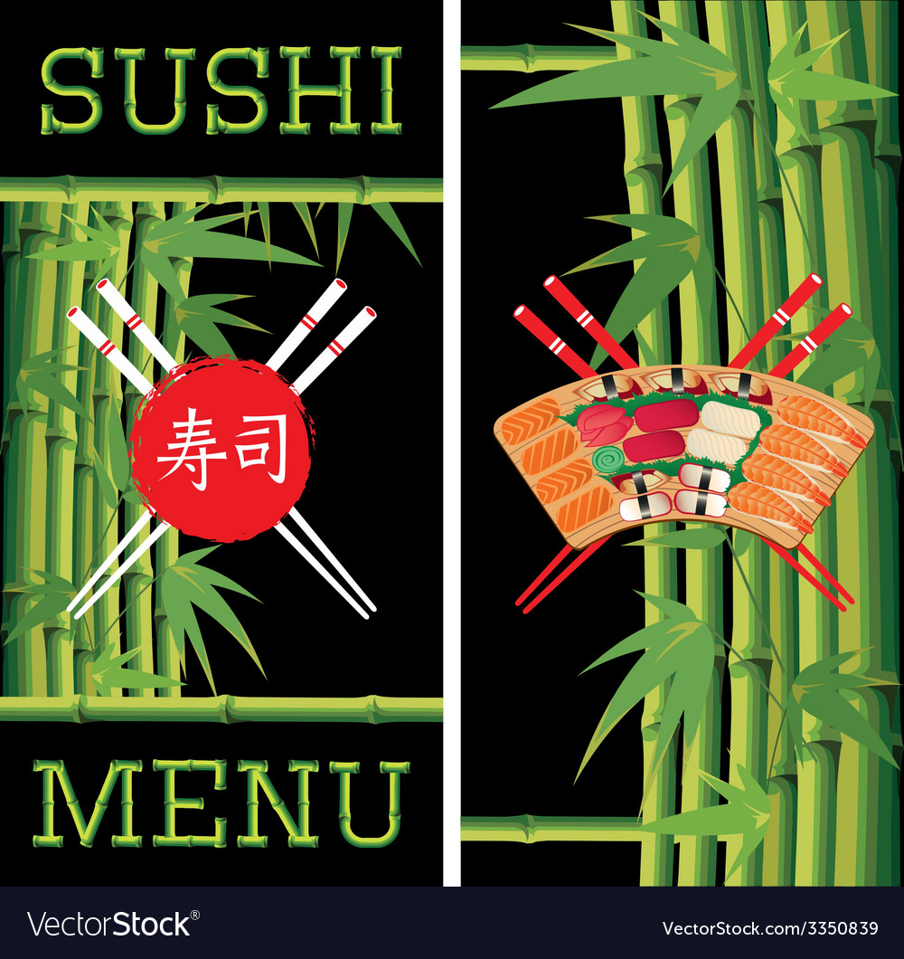 Template for sushi menu with bamboo vector