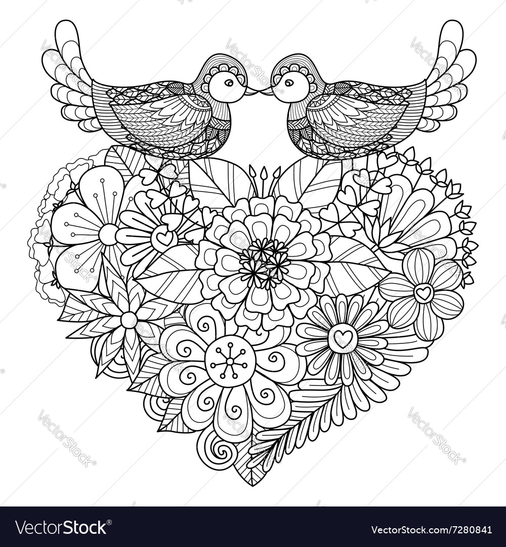 Bird couple coloring book vector