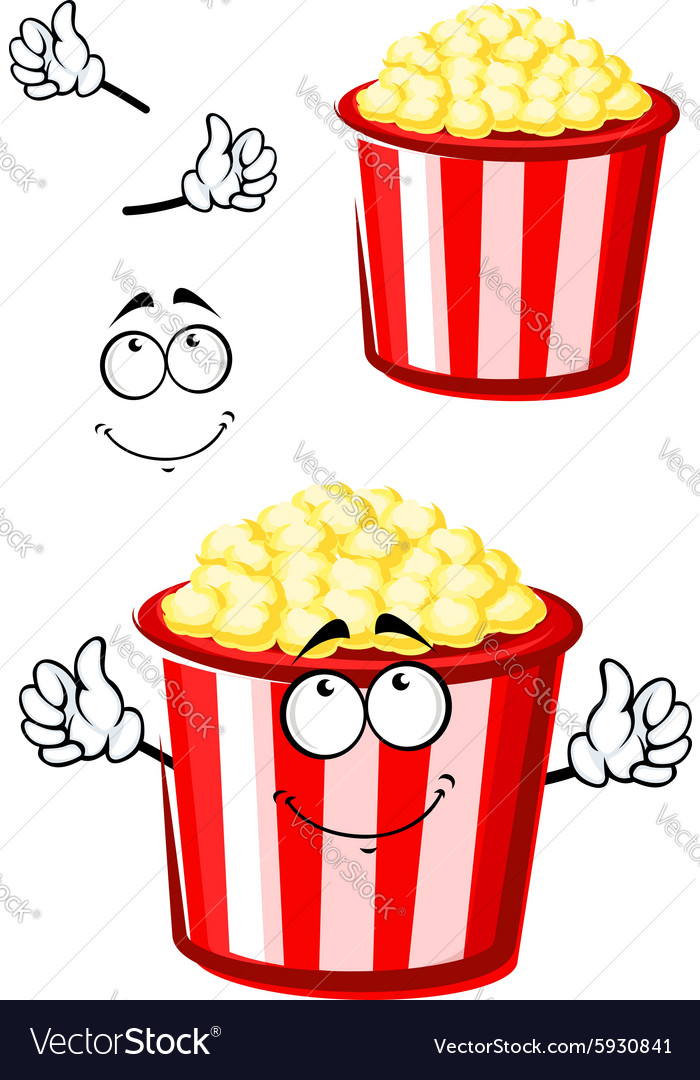 Cartoon popcorn character in striped bucket vector