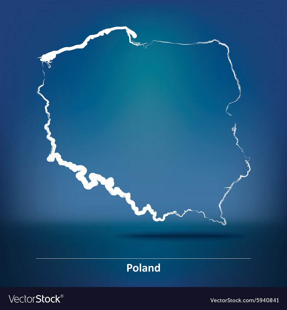 Doodle map of poland vector