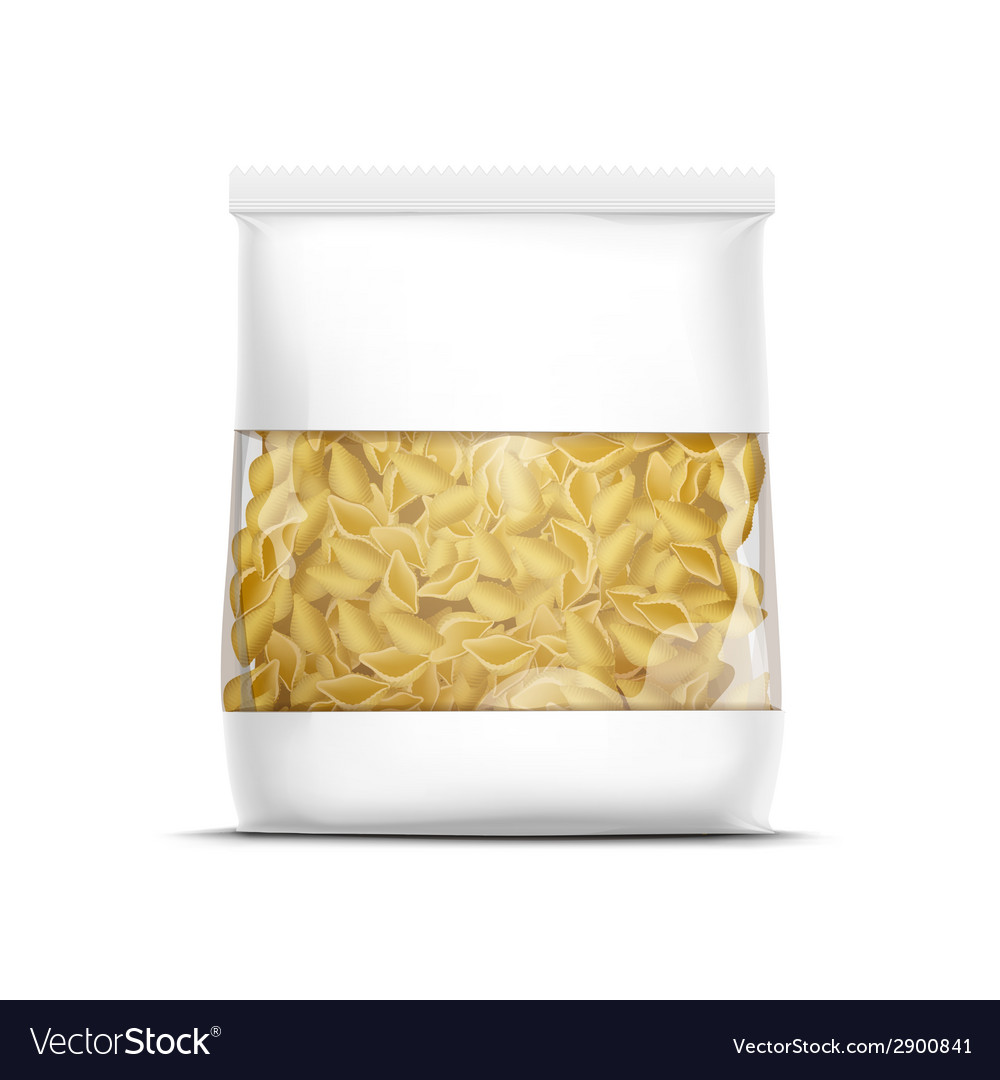Pasta shells packaging template isolated vector
