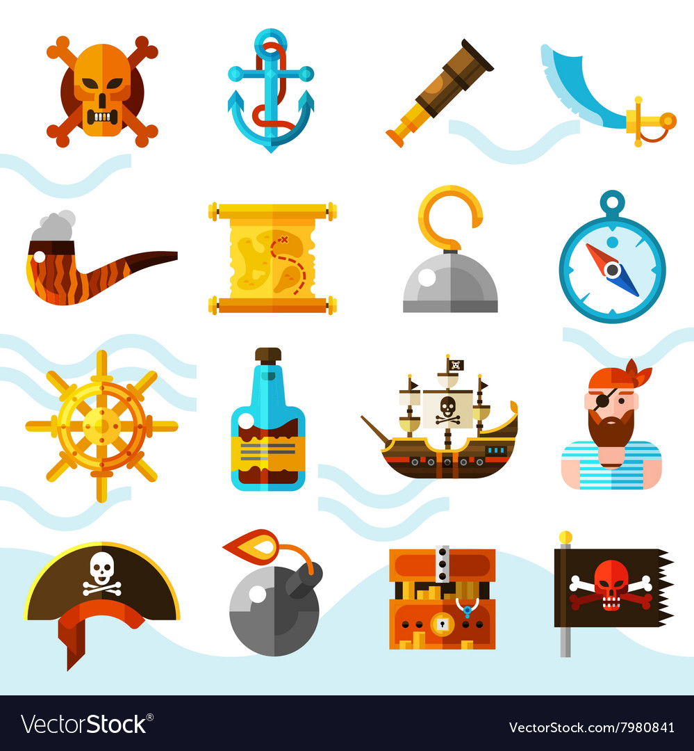 Pirates color icons set vector