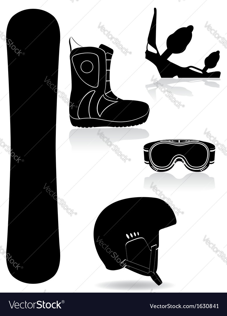 Set icons equipment for snowboarding black and vector