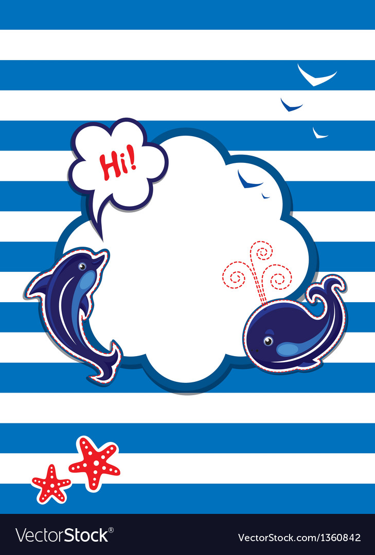 Funny card with dolphin whale and empty frame vector