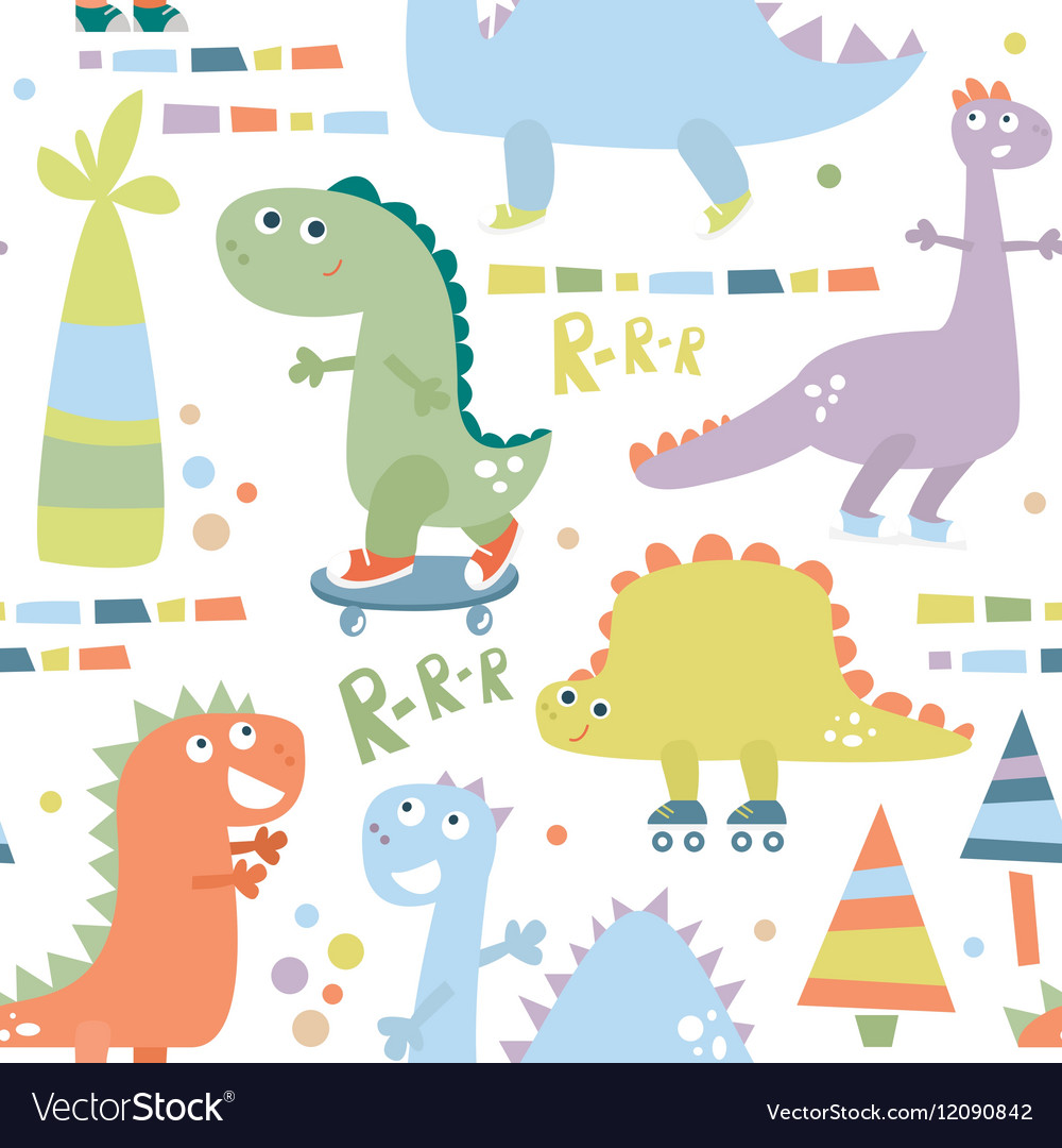 Seamless pattern with dinosaur baby background vector