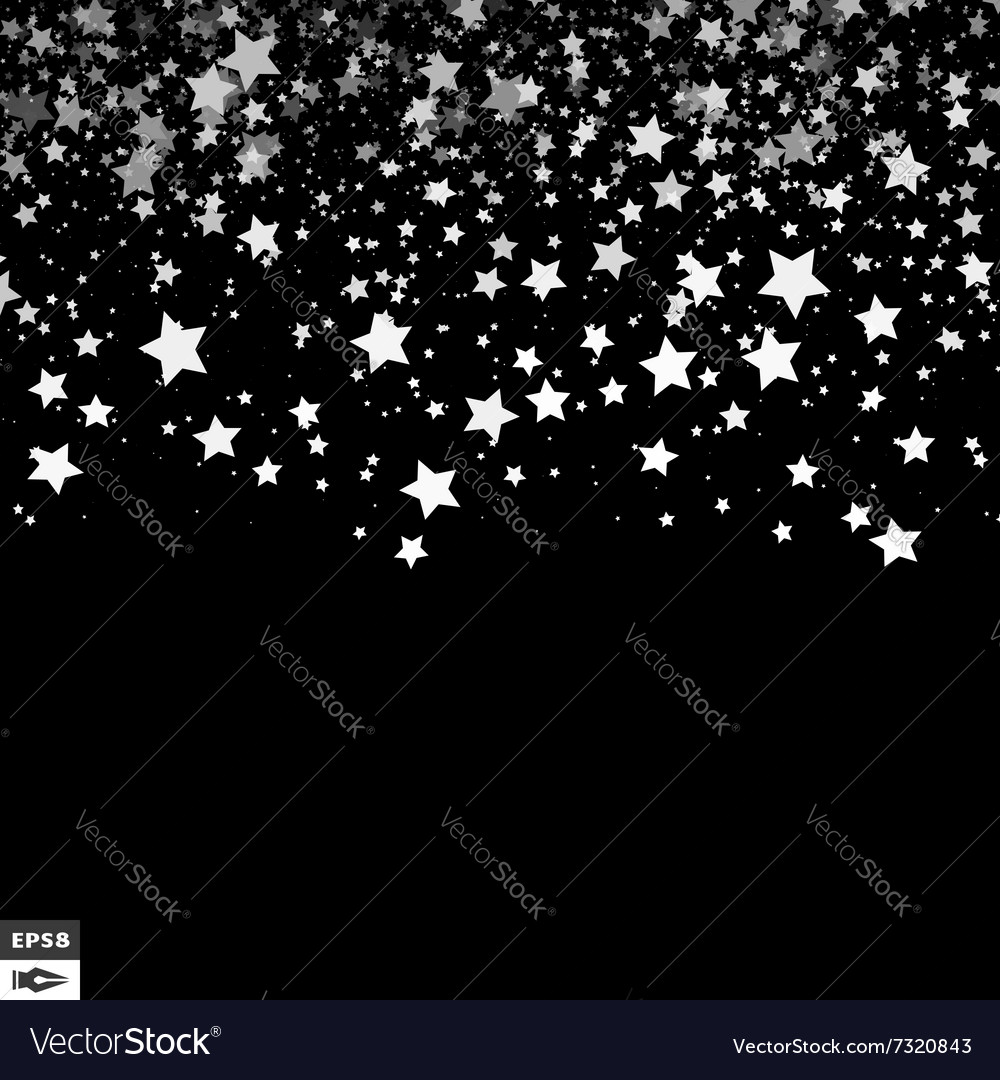 Background with stars black and white pattern vector