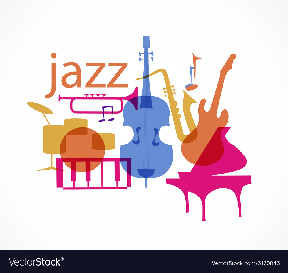 Colorful jazz instruments set isolated on white vector