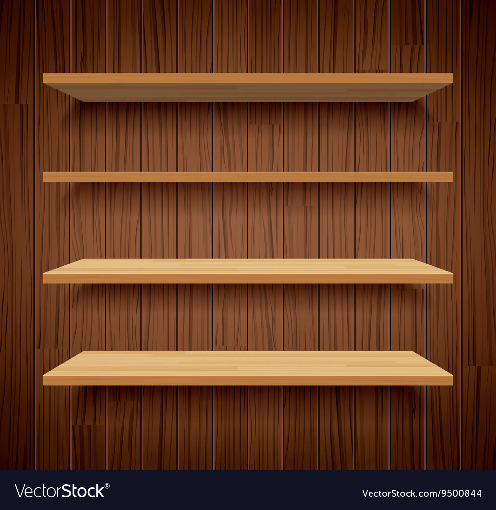 Wood bookshelves on brown wood wall background vector