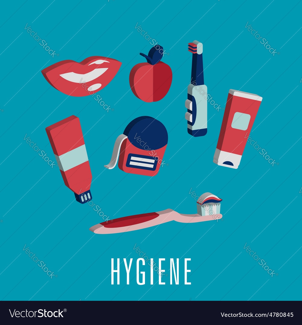 Dental hygiene medical icons in 3d vector