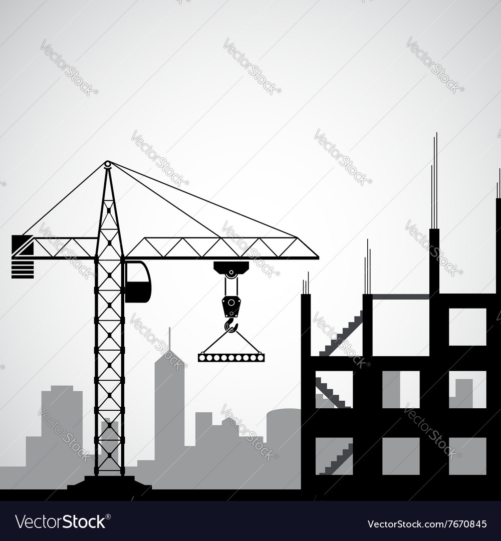 Logo construction crane vector