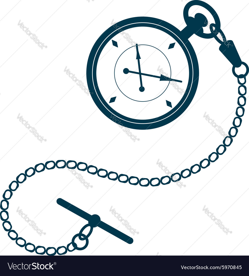 Pocket watch with chain vector