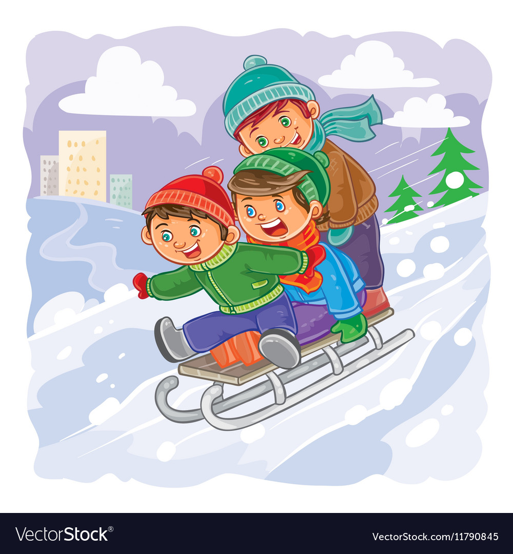 Three little boys roll together on sled from a vector