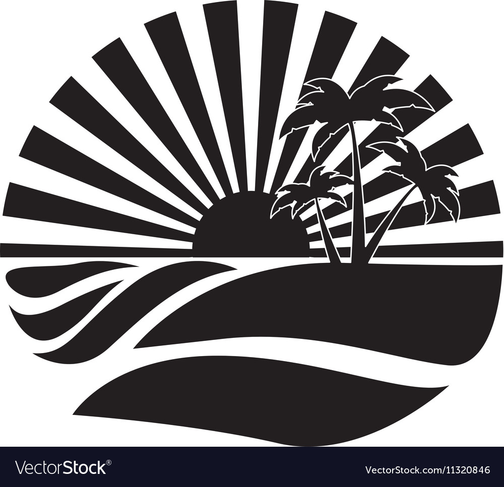 Emblem style tropical island icon image vector
