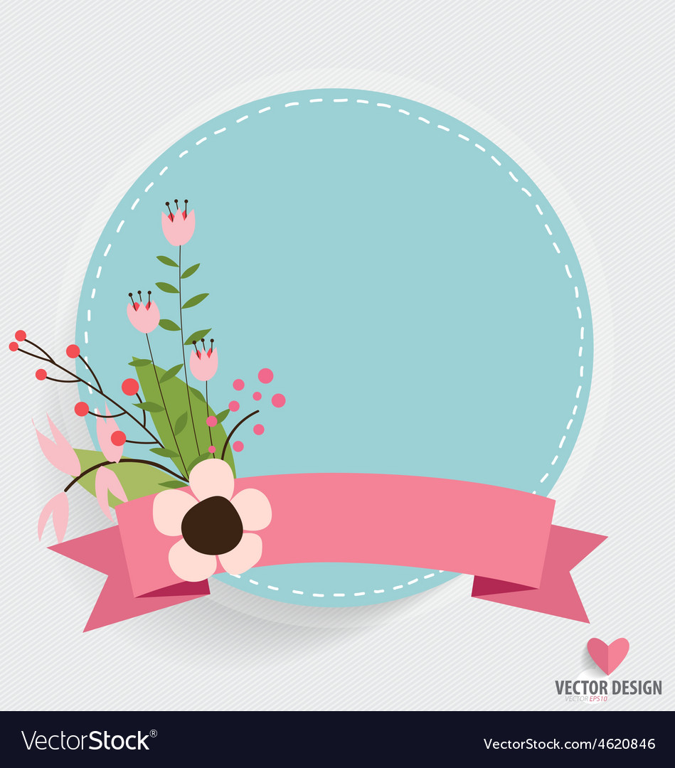 Floral bouquets with ribbon and heart vector