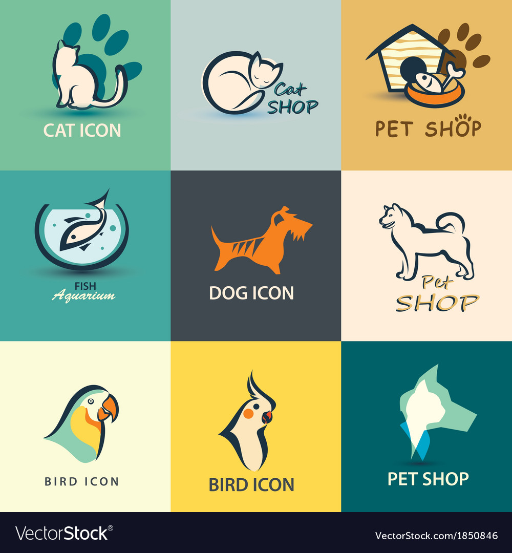 Pets icons collection vector