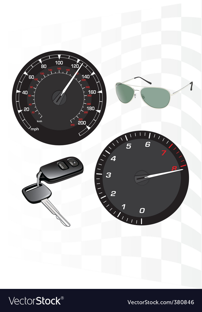 Tachometer and speedometer vector