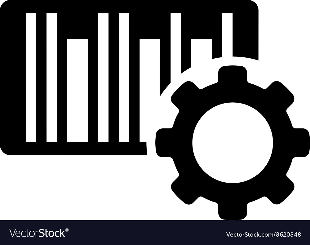 Bar code settings flat icon vector