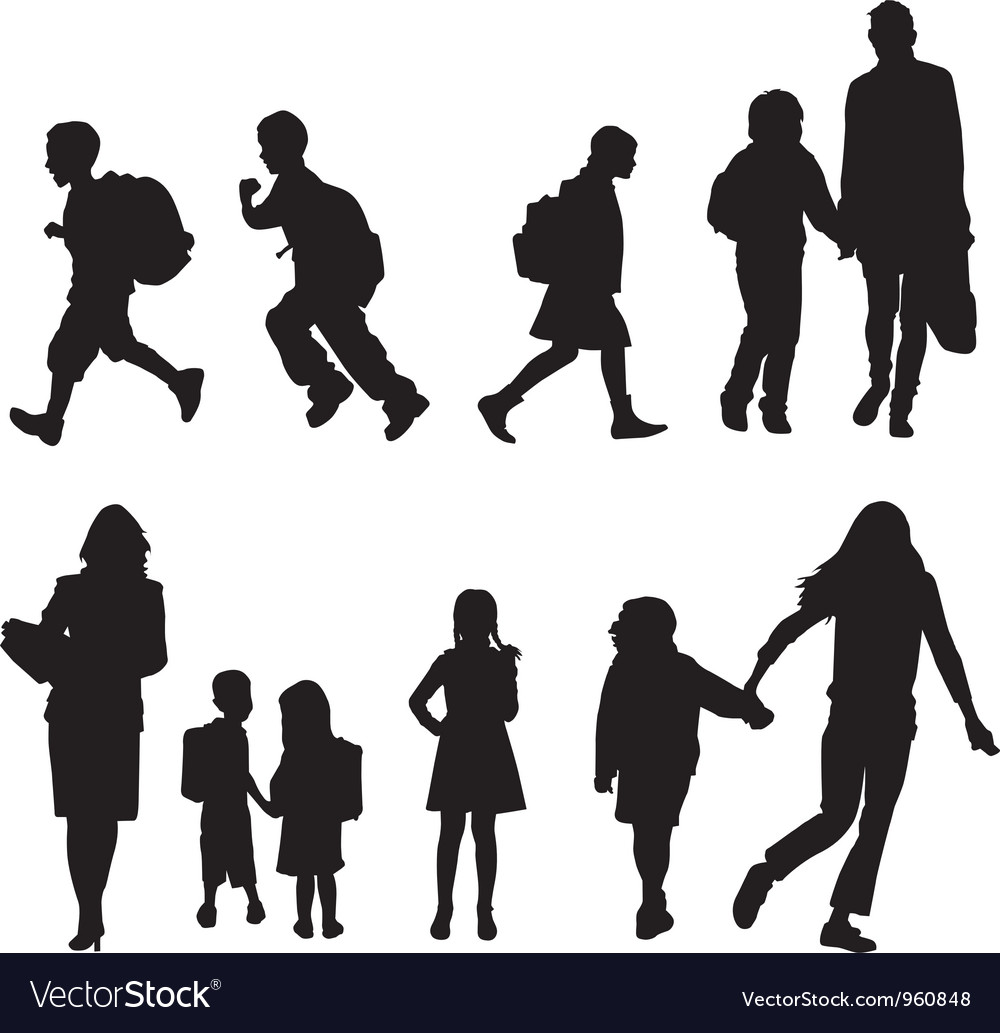Silhouettes students vector