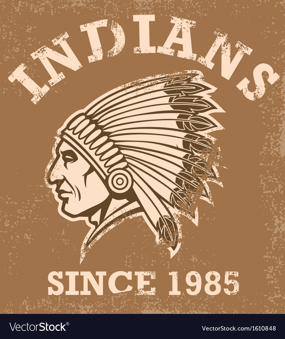 Vintage indian mascot vector
