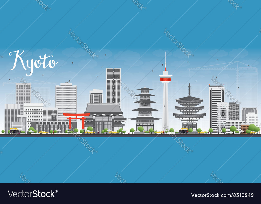 Kyoto skyline with gray landmarks and blue sky vector