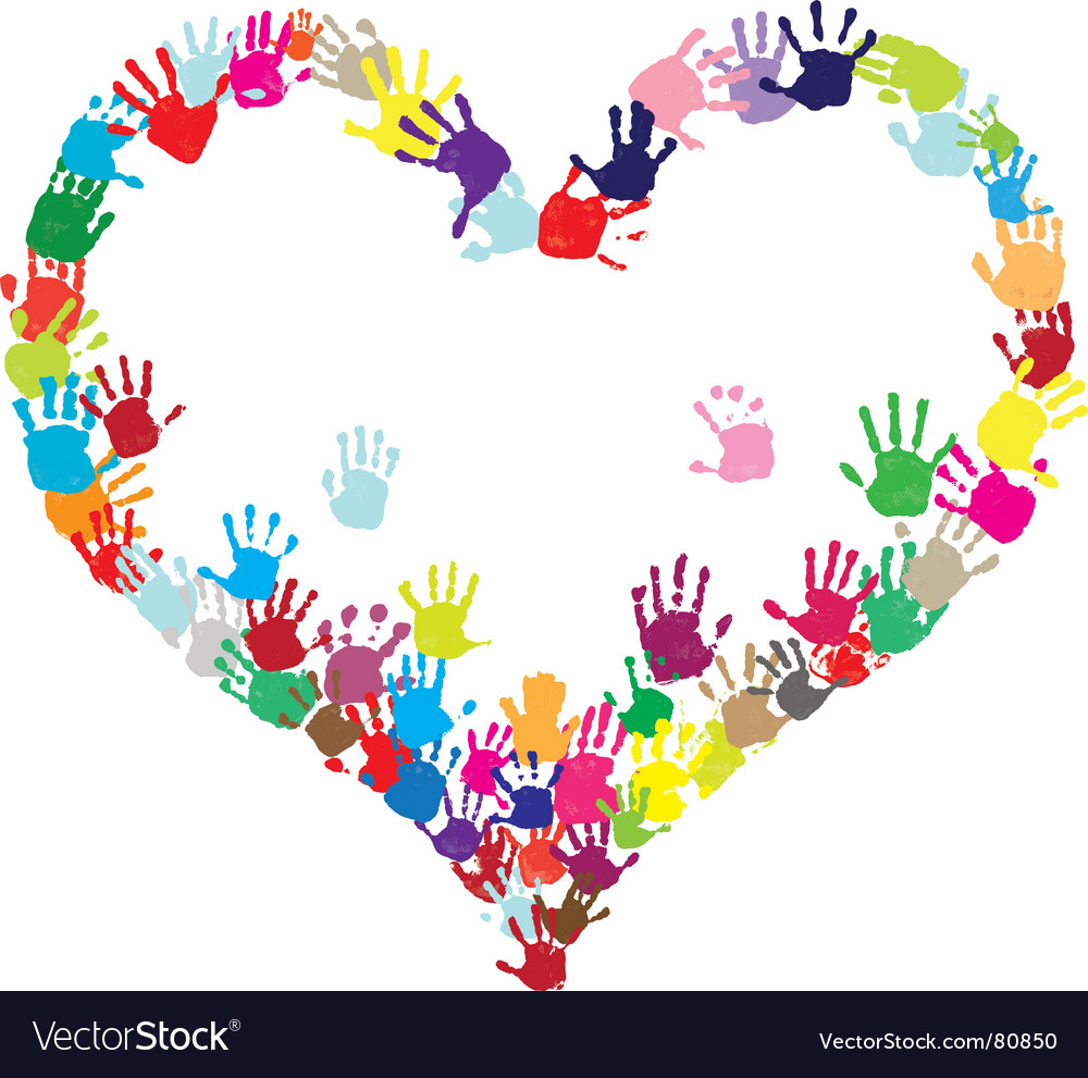 Heart of hands vector