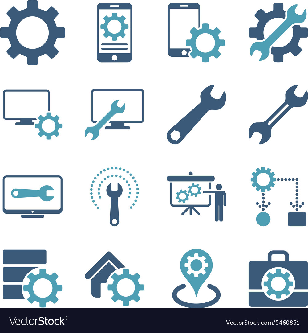 Options and service tools icon set vector