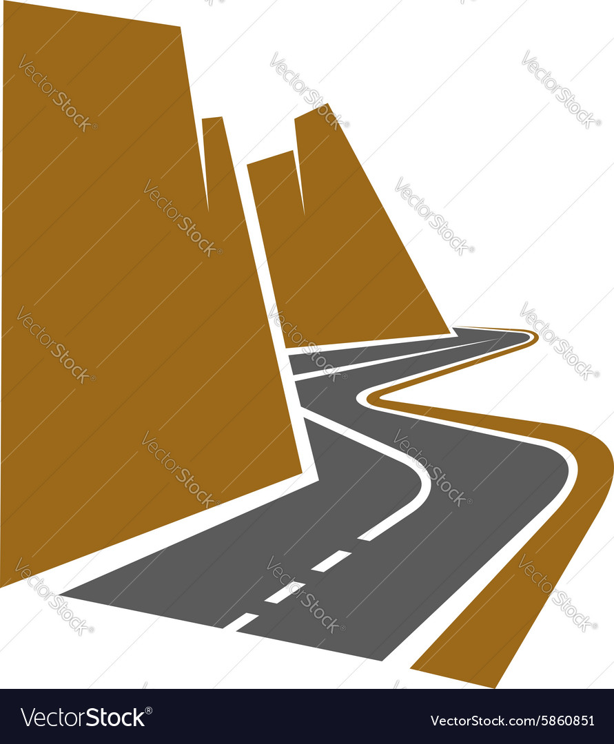 Winding mountain road or highway vector
