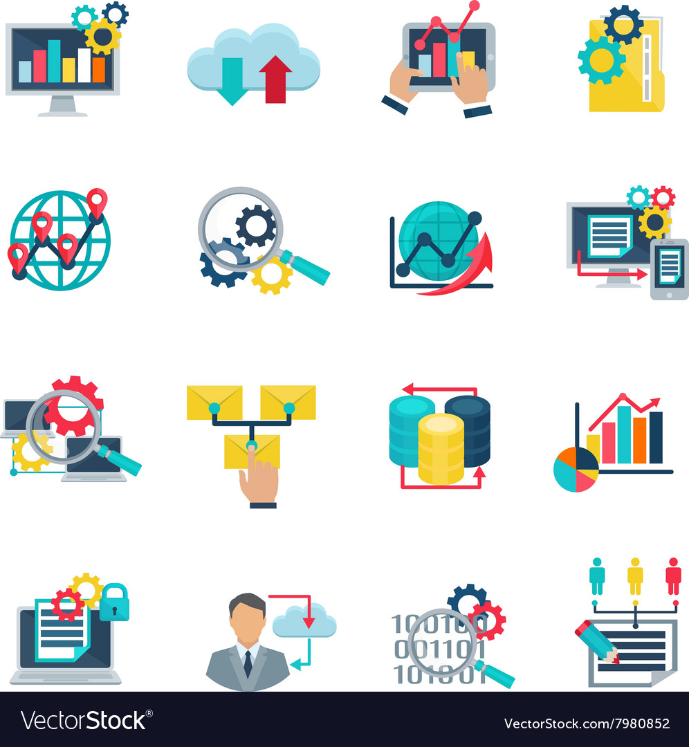 Big data analytics flat icons vector