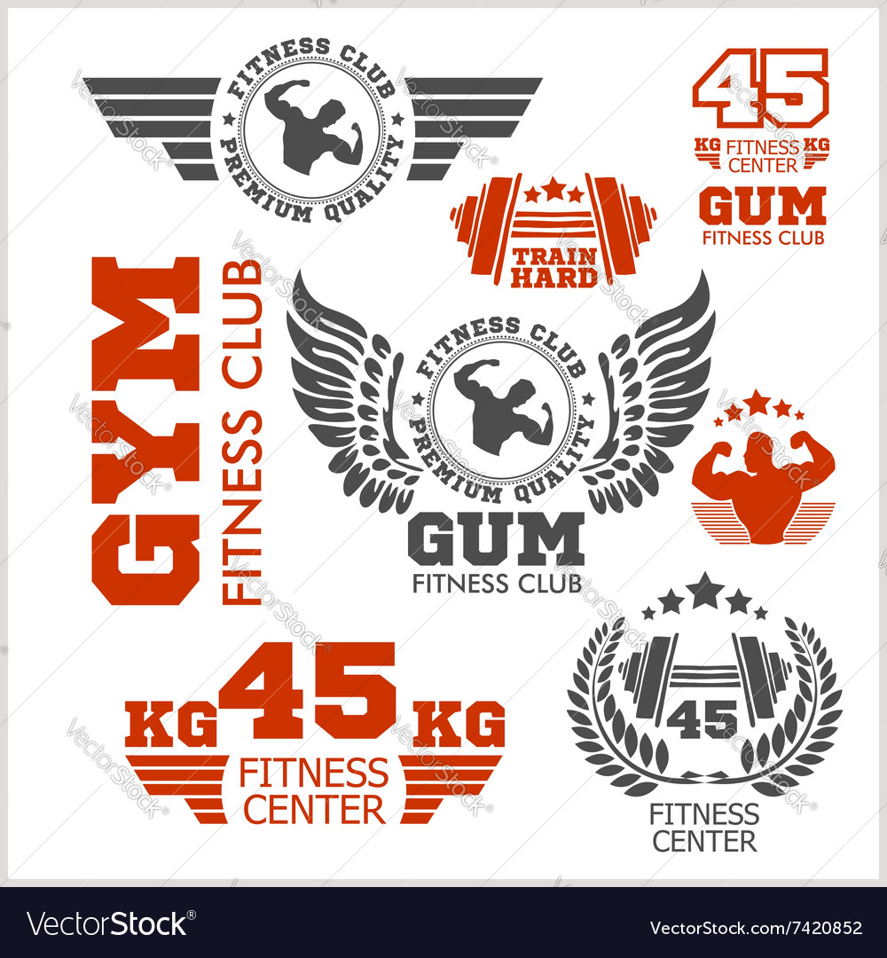 Set of sports and fitness logo gym logotypes vector
