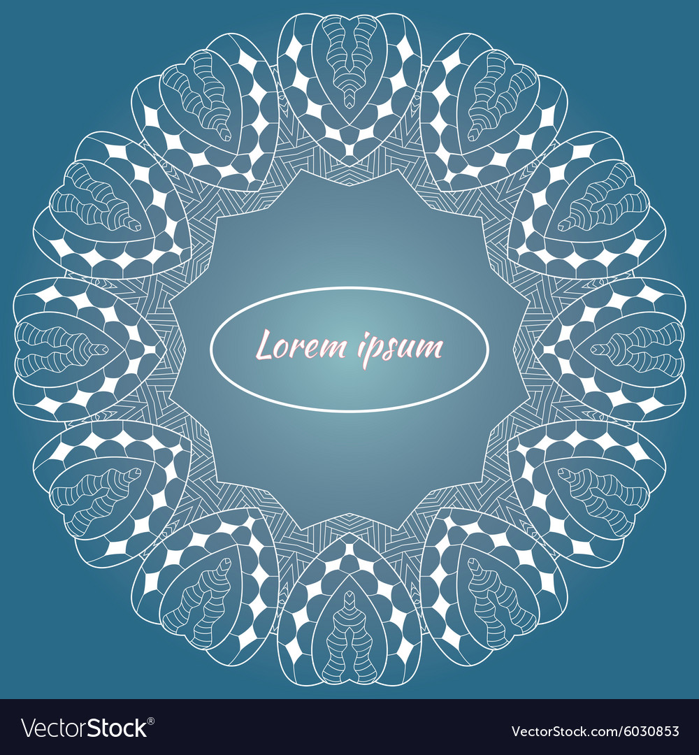 Invitation card with round lacy pattern vintage vector