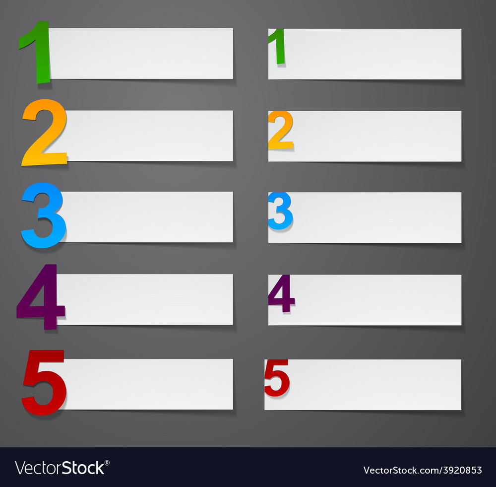 Numbered list design vector
