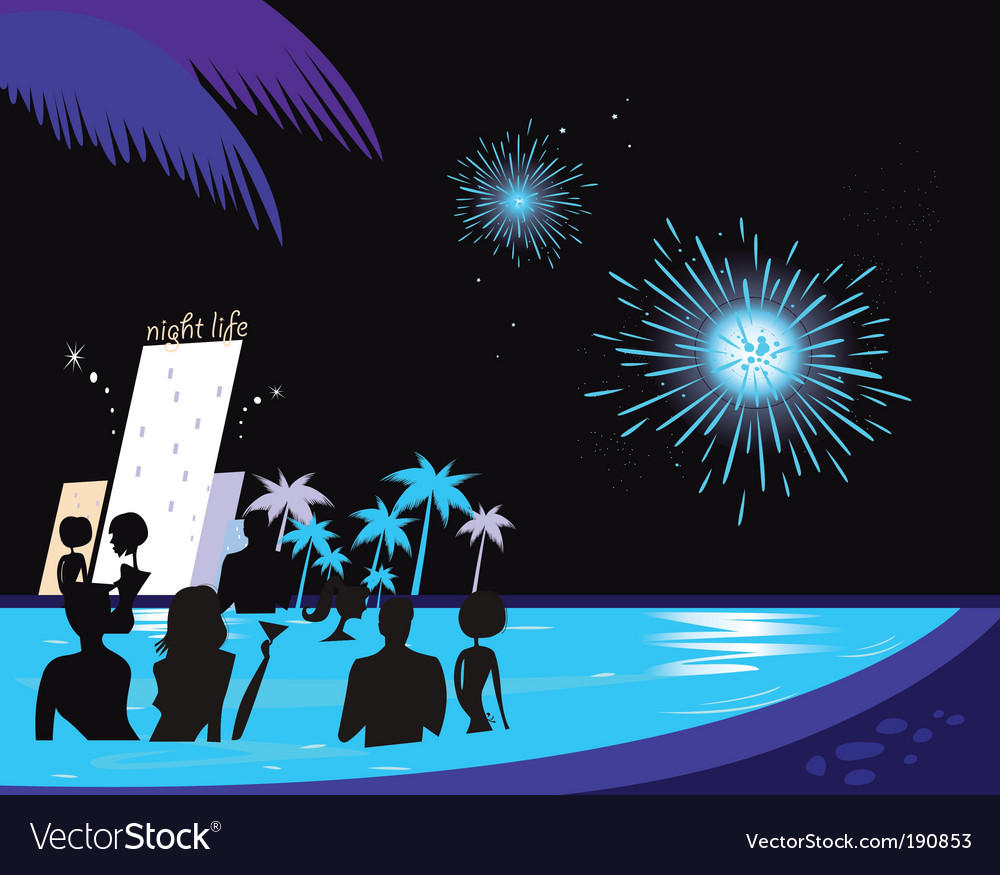 Water party night vector