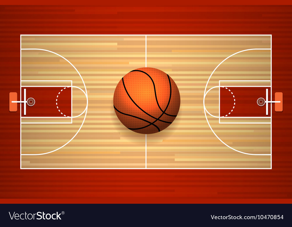 Basketball court floor top view vector