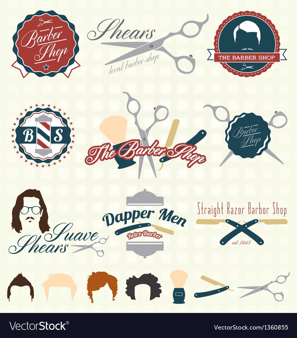 Barbershop labels vector