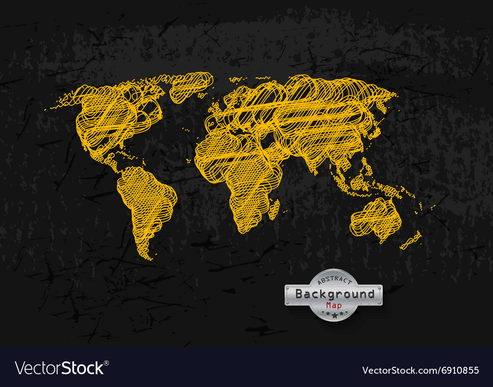Hand drawn yellow world map on a grey background vector