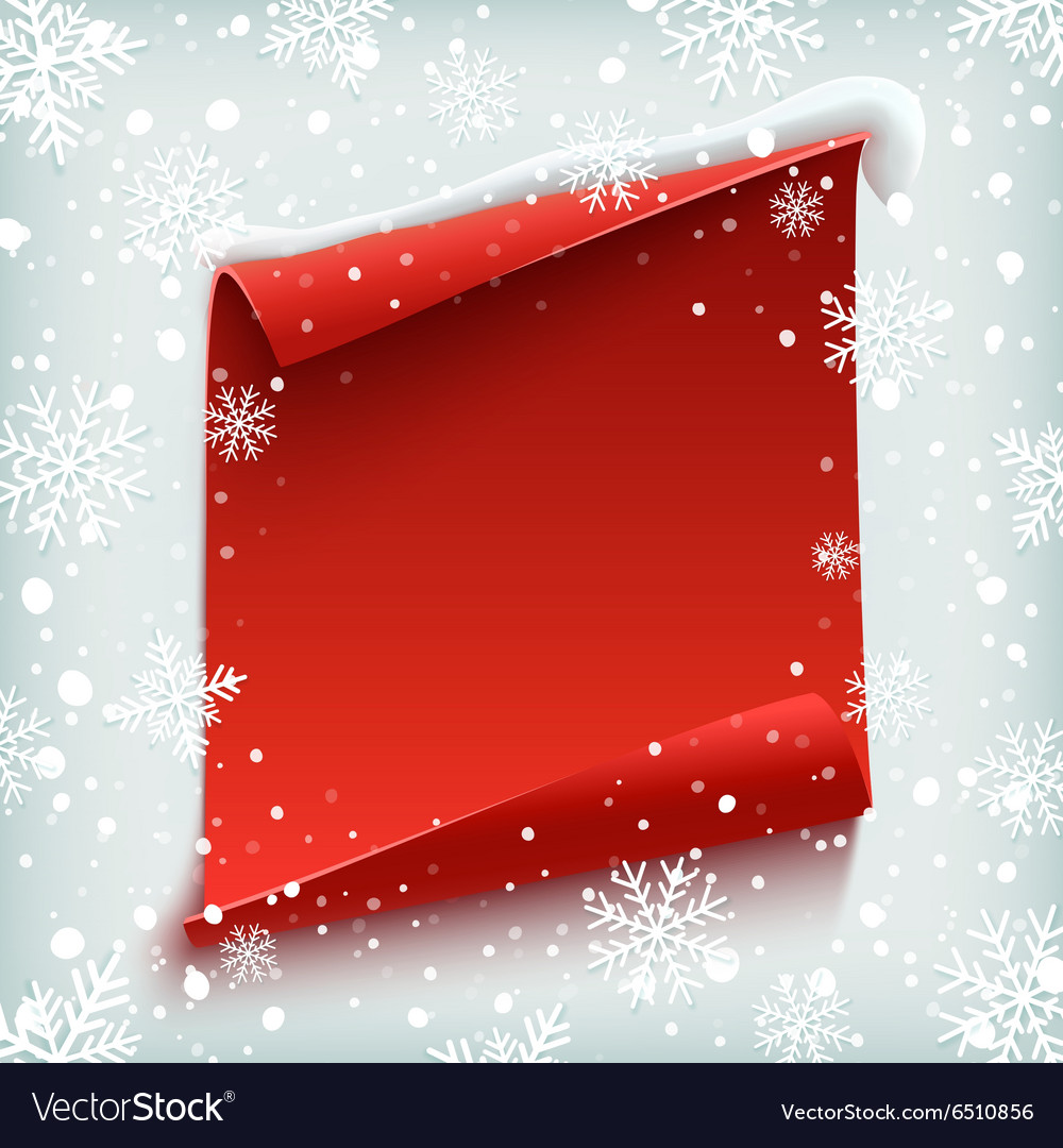 Red curved paper banner on winter background vector