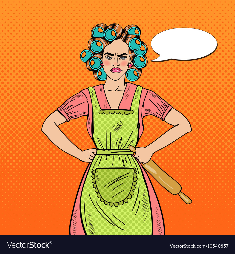 Angry housewife pop art woman holding rolling pin vector