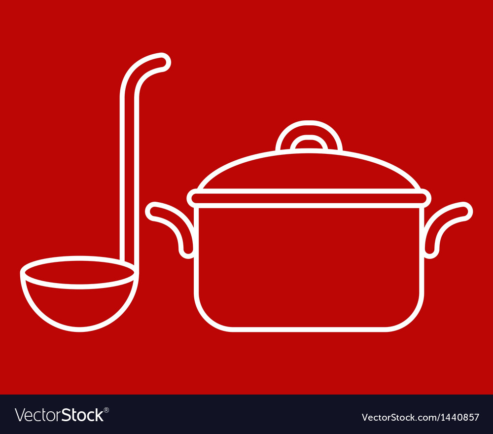 Cooking pot and ladle vector