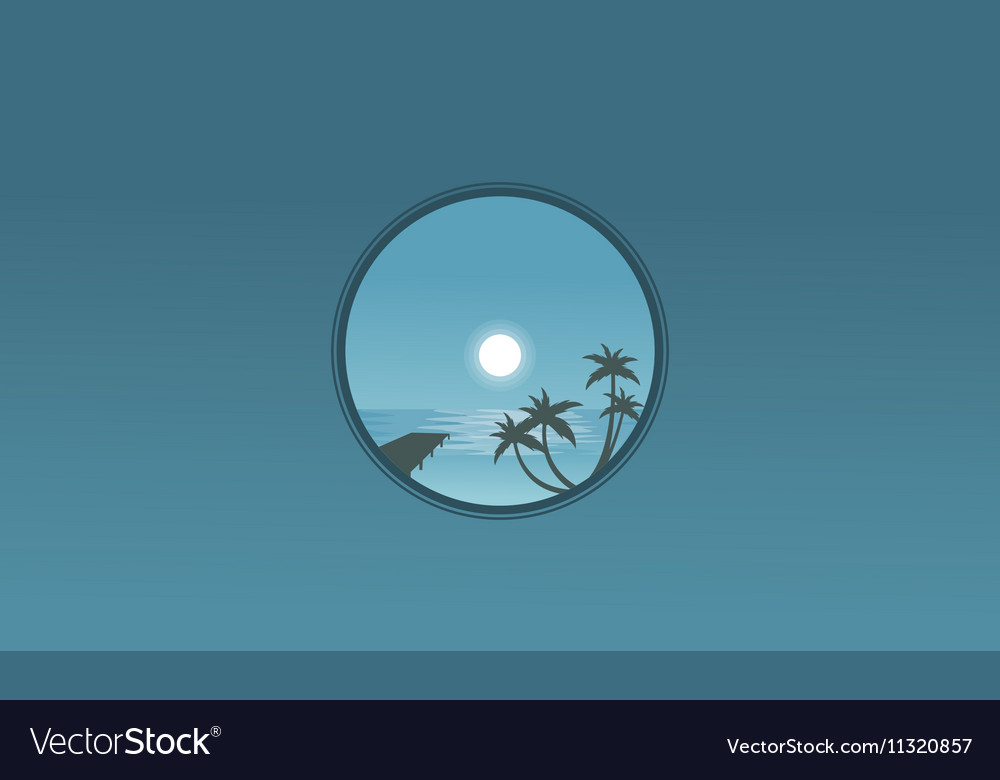Pier and palm landscape at night silhouettes vector