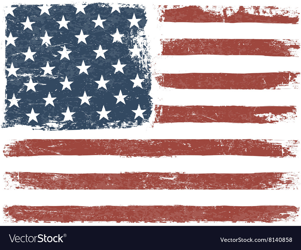 American flag grunge background template vector