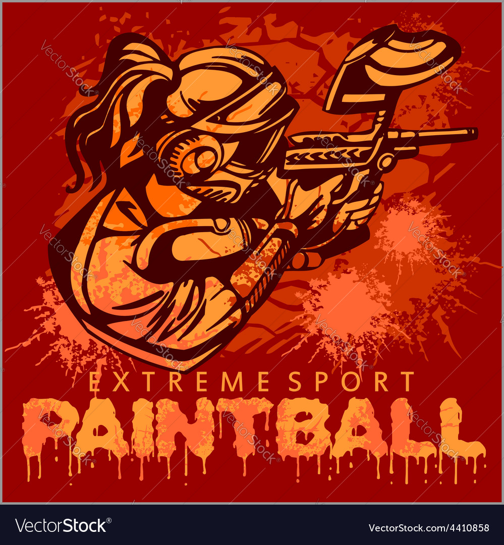 Paintball team  extreme sport vector