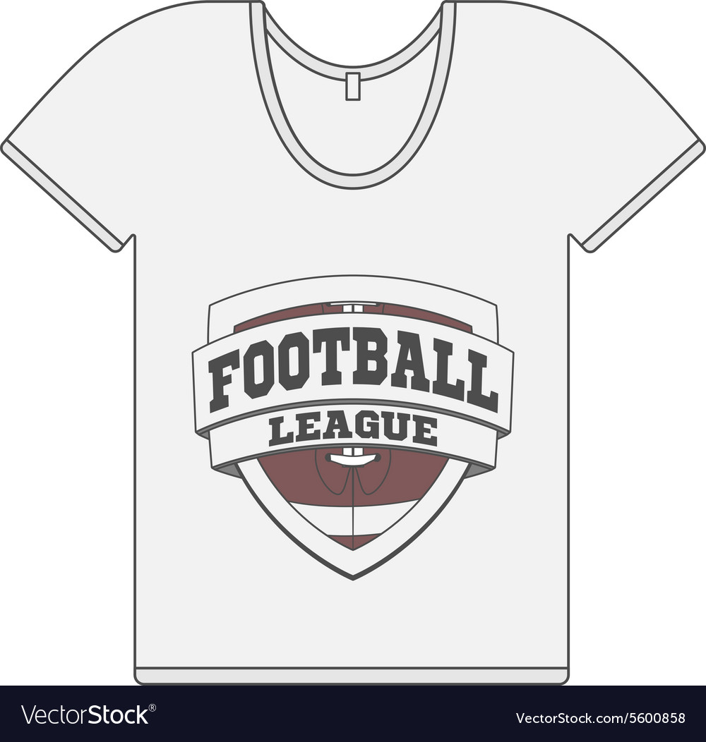 Single white tshirt with football label vector