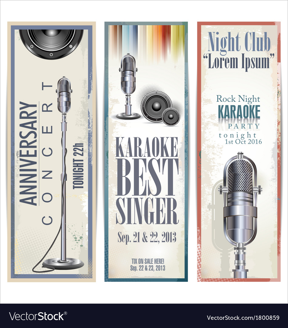 Karaoke retro banner set vector