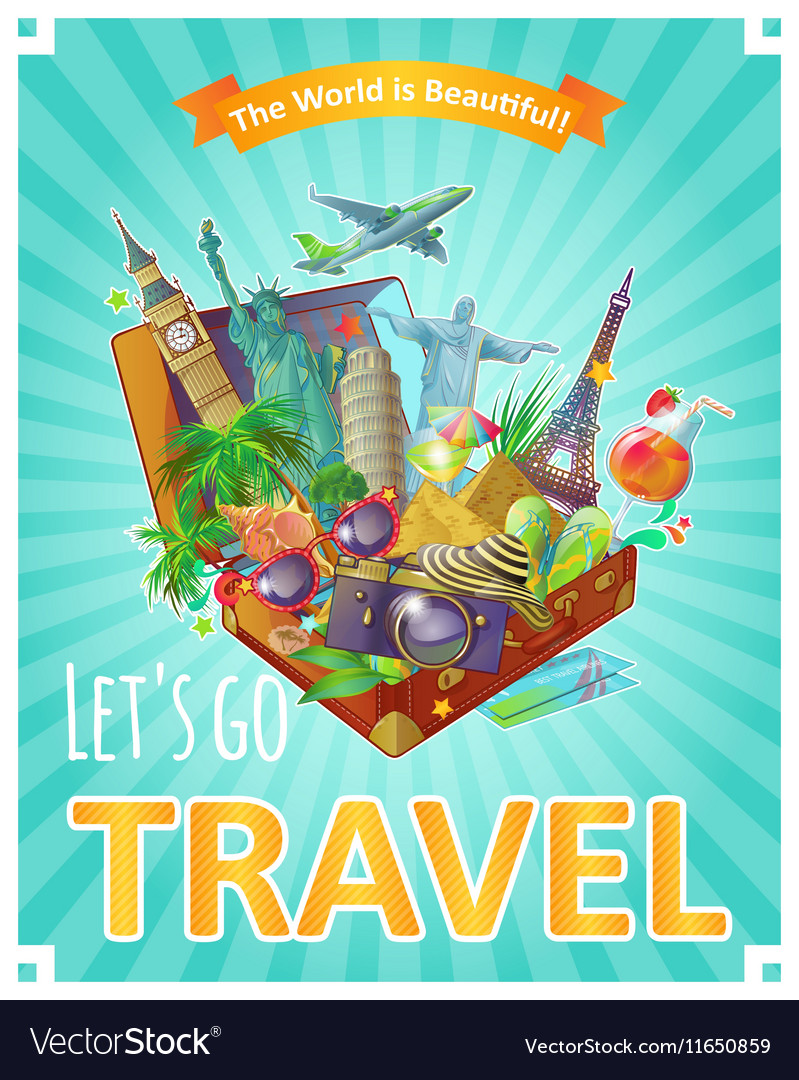 Lets go travel poster vector
