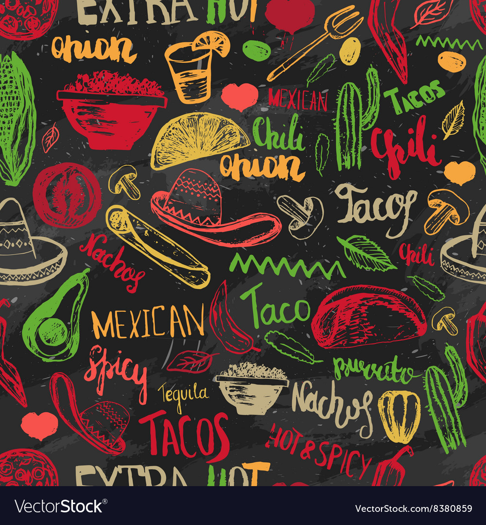 Seamless pattern mexican food with vector