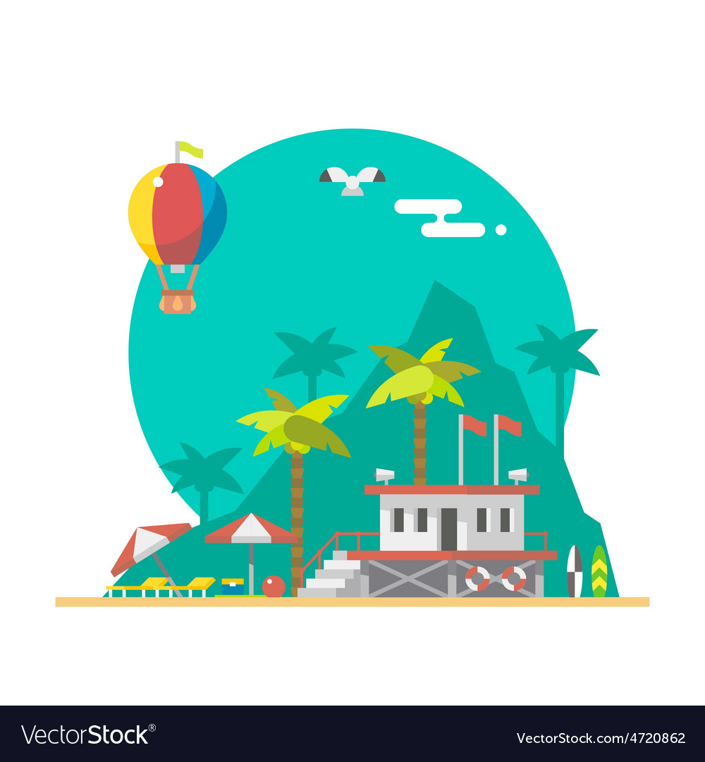 Flat design of beach guard tower on a beach vector
